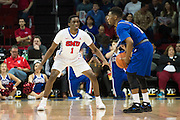 DALLAS, TX - DECEMBER 17: Shake Milton #1 of the SMU Mustangs defends against the Hampton Pirates on December 17, 2015 at Moody Coliseum in Dallas, Texas.  (Photo by Cooper Neill/Getty Images) *** Local Caption *** Shake Milton
