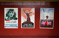 © Licensed to London News Pictures. <br /> 16/10/2016. <br /> Goathland, UK.  <br /> <br /> 1940's period posters are displayed at Goathland station during the final day of the North Yorkshire Moors Railway Wartime Weekend event.  <br /> The annual event brings together re-enactors and enthusiasts along the length of the NYMR heritage steam railway line to recreate the feel of the war years of the 1940's. <br /> <br /> Photo credit: Ian Forsyth/LNP