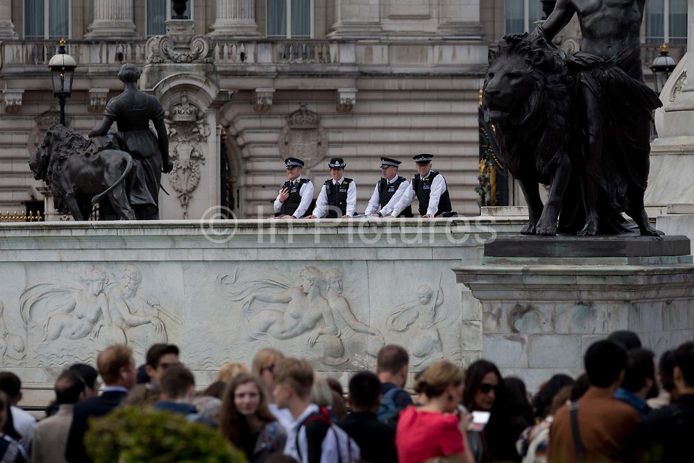 On US President Donald Trumps first day of a controversial three-day state visit to the UK by the 45th American President, British Met Police officers secure the Mall, on 3rd June 2019, in London England.