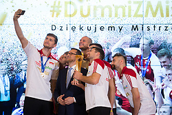 October 1, 2018 - Warsaw, Poland - Prime Minister of Poland Mateusz Morawiecki during the meeting with Poland men's national volleyball team at Chancellery of the Prime Minister in Warsaw, Poland on 1 October 2018. Poland won the gold medal after defeating Brazil in FIVB Volleyball Men's World Championship Final in Turin on 30 September. (Credit Image: © Mateusz Wlodarczyk/NurPhoto/ZUMA Press)