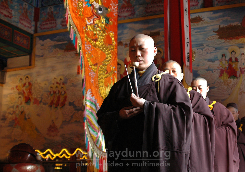 China, Wutai Shan, 2008. Female monks maintain a steady rhythm as they walk and chant together. Buddhist practitioners are welcomed into this community.