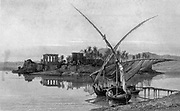 A Nile Nugger on the Nile river at Philae, Egypt  Steel engraving of from 'Picturesque Palestine, Sinai and Egypt' by Wilson, Charles William, Sir, 1836-1905; Lane-Poole, Stanley, 1854-1931 Volume 4. Published in 1884 by J. S. Virtue and Co, London