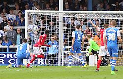 Barnsley's Devante Cole scores the first goal of the game - Photo mandatory by-line: Joe Dent/JMP - Mobile: 07966 386802 - 18/10/2014 - SPORT - Football - Peterborough - London Road Stadium - Peterborough United v Barnsley - Sky Bet League One
