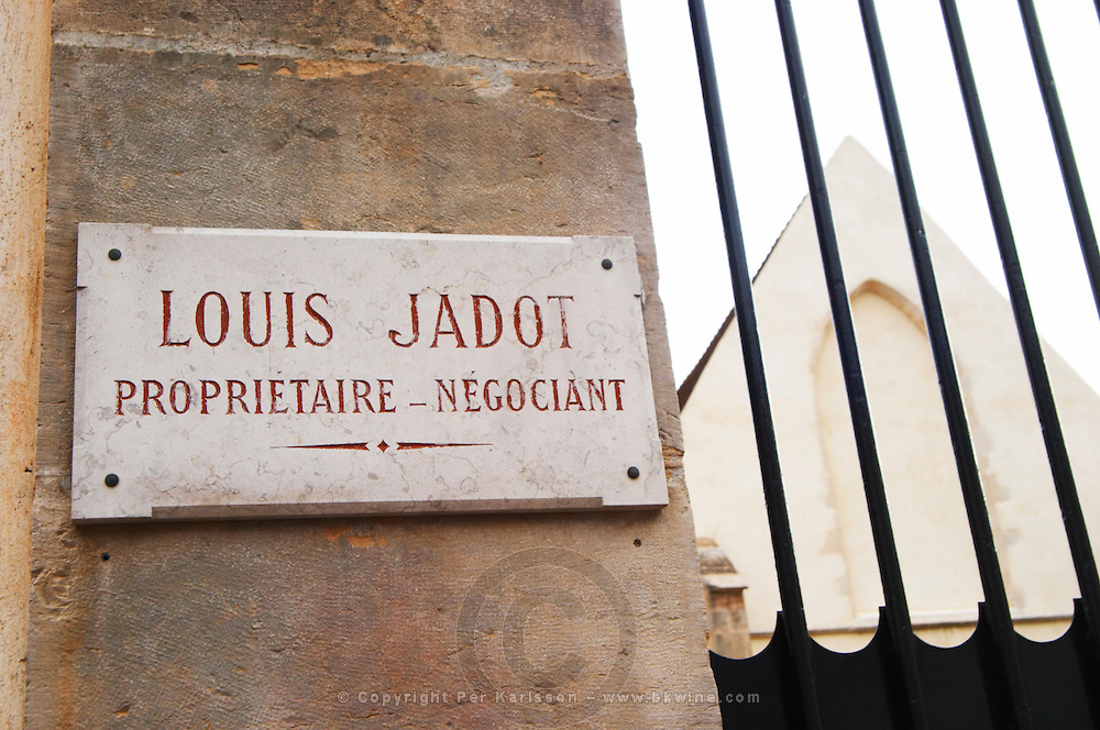 A marble carved stone sign saying Louis Jadot Proprietaire Negociant (owner proprietor and wholesaler), Maison Louis Jadot, Beaune Côte Cote d Or Bourgogne Burgundy Burgundian France French Europe European