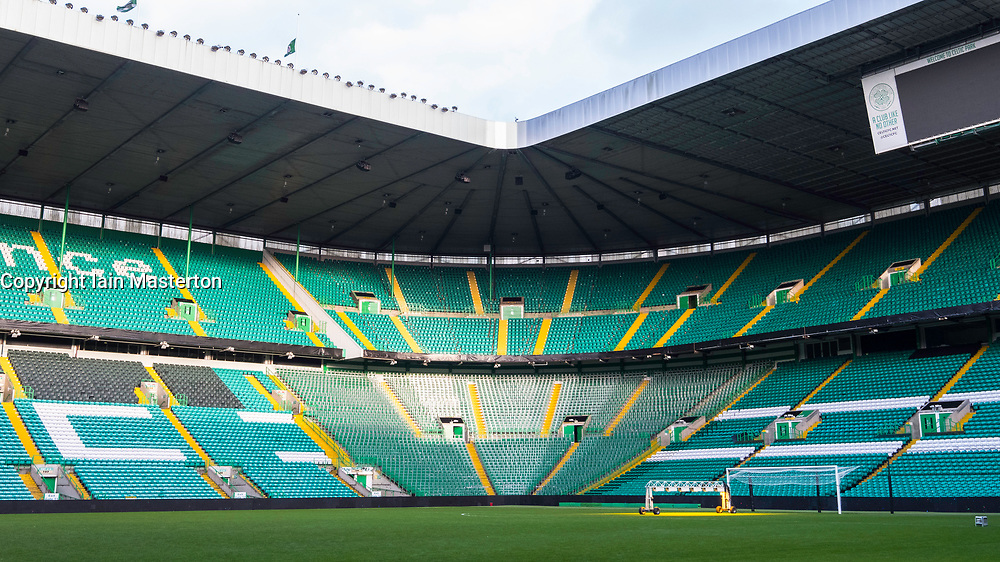 View of standing area of stadium at Celtic Park home of Celtic Football Club in Parkhead , Glasgow, Scotland, United Kingdom