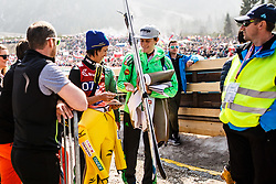 Noriaki Kasai of Japan and Peter Prevc of Slovenia during the Ski Flying Hill Men's Team Competition at Day 3 of FIS Ski Jumping World Cup Final 2017, on March 25, 2017 in Planica, Slovenia. Photo by Grega Valancic / Sportida