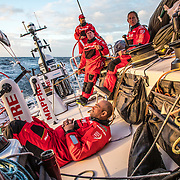 Leg 7 from Auckland to Itajai, day 02 on board MAPFRE. Some quite sailing after. 24h of nightmare upwind conditions. 19 March, 2018.