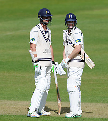 Middlesex's James Franklin and Adam Voges. - Photo mandatory by-line: Harry Trump/JMP - Mobile: 07966 386802 - 29/04/15 - SPORT - CRICKET - LVCC Division One - County Championship - Somerset v Middlesex - Day 4 - The County Ground, Taunton, England.