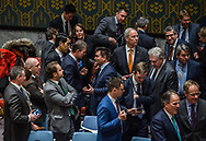 Dutch Minister of Foreign Affairs Halbe Zijlstra getting introduced to the Security Council at the United Nations in NYC. As per January 1, 2018 the Netherlands will occupy a seat in the Security Council. Mr. Zijlstra is featured here in conversation with his Ukrainian counterpart Pavlo Klimkin.