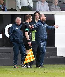 Dunfermline's manager Allan Johnston after David Hopkirk dives for a free kick, but doesn't get one. Dunfermline 1 v 2 Falkirk, Scottish Championship game played 22/4/2017 at Dunfermline's home ground, East End Park.