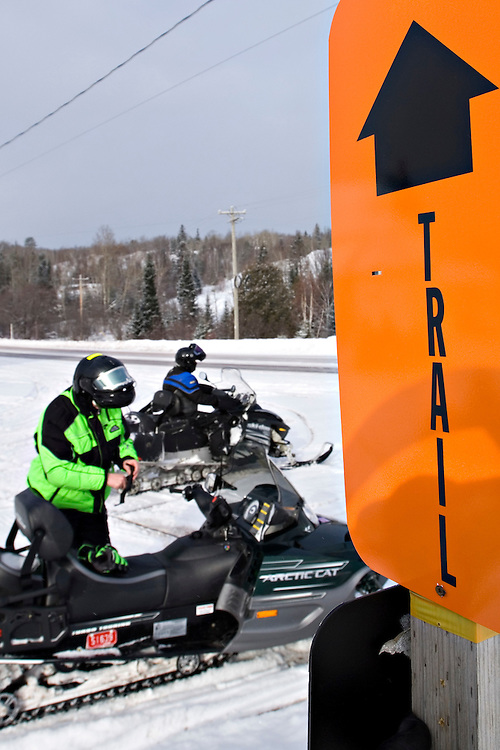 A snowmobile trail marker near Phoenix Michigan on the Keweenaw Peninsula in Michigan's Upper Peninsula.