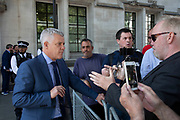 Lawyer has a discussion with leave campaign, pro-Brexit protesters outside The Supreme Court as the second day of the hearing to rule on the legality of suspending or proroguing Parliament begins on September 18th 2019 in London, United Kingdom. The ruling will be made by 11 judges in the coming days to determine if the action of Prime Minister Boris Johnson to suspend parliament and his advice to do so given to the Queen was unlawful.