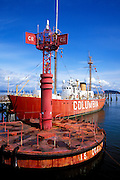 Floating beacon and the Lightship Columbia at the Columbia River Maritime Museum, Astoria, Oregon