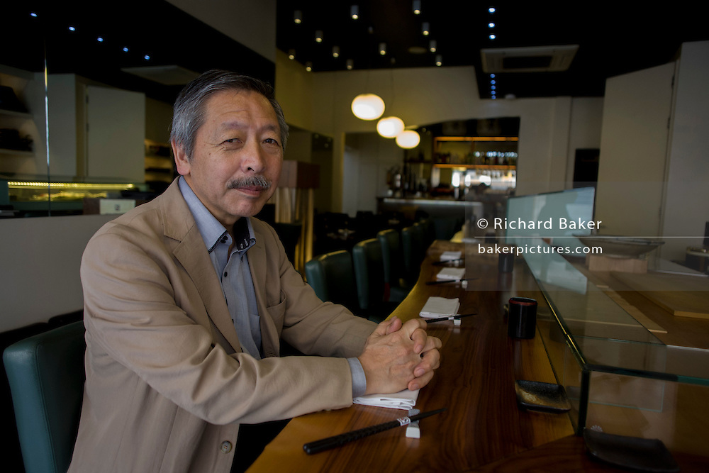 Japanese entrepreneur, Tetsuro Hama at his 'So' restaurant, Soho, London. <br /> <br /> <br /> From the chapter entitled 'The Price of Happiness' and from the book 'Risk Wise: Nine Everyday Adventures' by Polly Morland (Allianz, The School of Life, Profile Books, 2014).