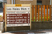 Road signs in the village to Domaine Barge, Gallet Henri, Chambeyron. Ampuis, Cote Rotie, Rhone, France, Europe
