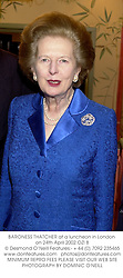 BARONESS THATCHER at a luncheon in London on 24th April 2002.OZI 8