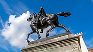 Lafayette Monument,a bronze equestrian statue ofGilbert du Motier, marquis de Lafayette, byAndrew O'Connor, Jr. Monument located near Washington Monument, South Garden, Mount Vernon Place,Baltimore. Photo taken July 21, 2018.