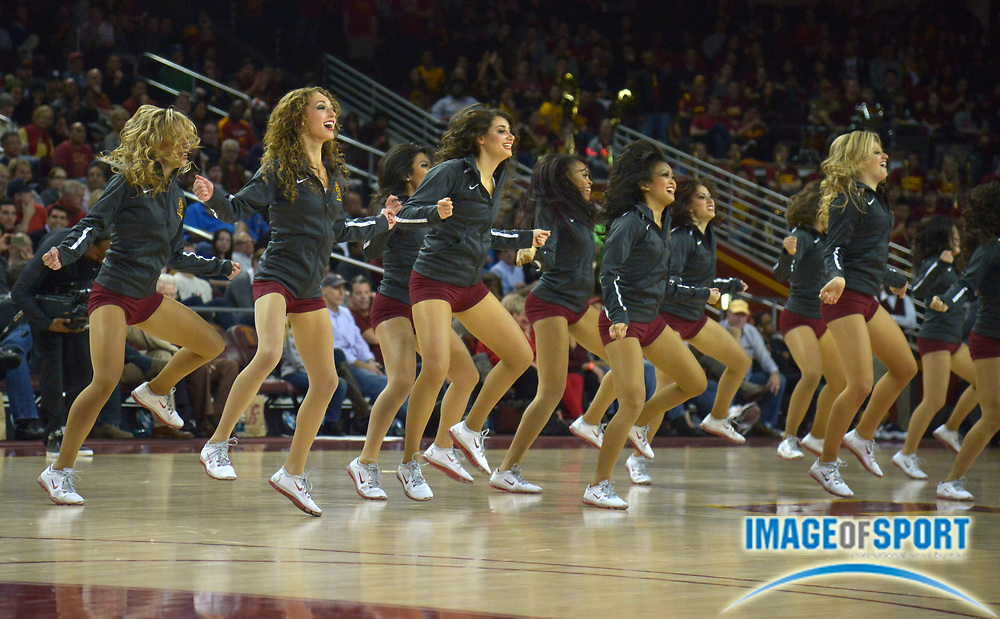Jan 14, 2015; Los Angeles, CA, USA; Southern California Trojans dance force cheerleaders perform against the UCLA Bruins at Galen Center.