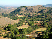 A landscape view of farmland and rolling hills of Shan State, Myanmar (Burma)