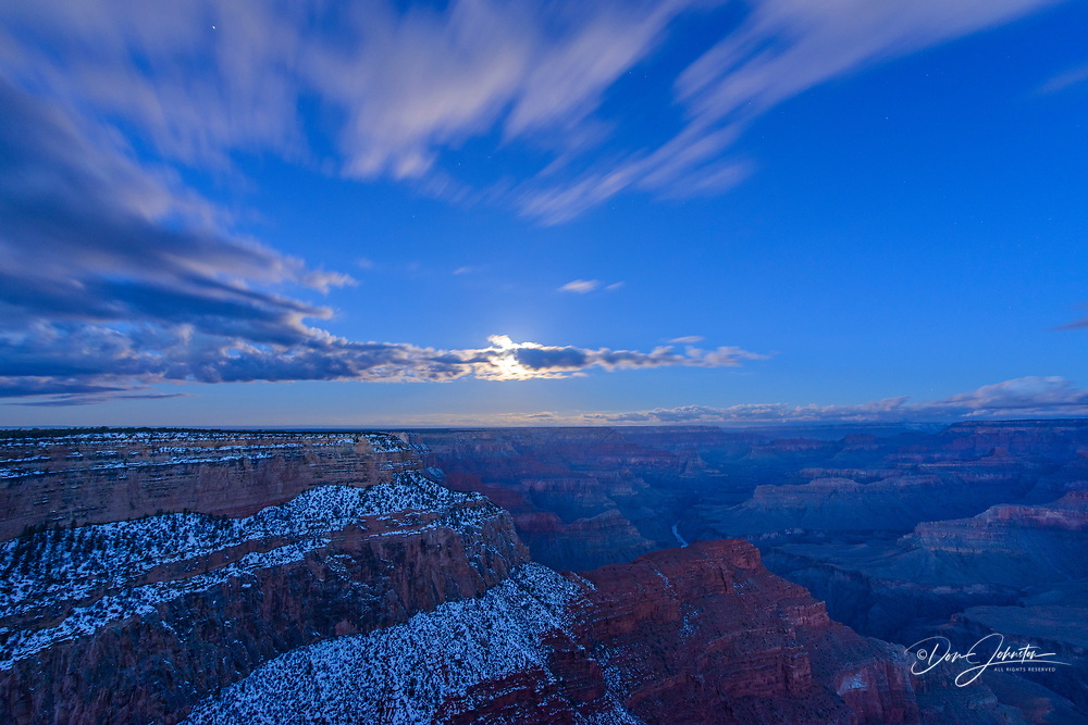 Grand Canyon with full moon over the South Rim in winter, from Hopi Point, Grand Canyon National Park, Arizona, USA