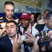 Sevilla's midfielder from Ivory coast, Turkish soccer superleague club Trabzonspor new player Didier ZOKORA, is surrounded by supporters and officials upon his arrival at Ataturk Airport in Istanbul Turkey on Monday 06 June 2011. Galatasaray, La Liga soccer team Sevilla's midfielder played with a four-year deal gave Didier ZOKORA. Photo by TURKPIX