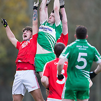 Corofin and Wolfe Tone players jump for the ball