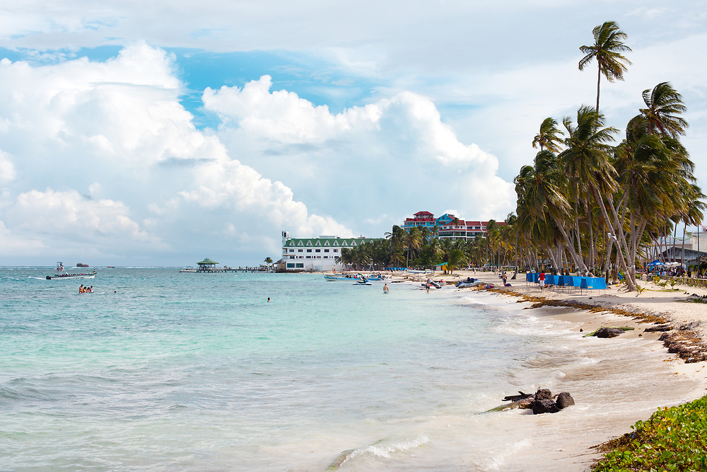 San Andres Island, The Archipelago of San Andrés, Providencia and Santa Catalina, Colombia - November 25, 2011: The Main beach at downtown in the Caribbean island of San Andres