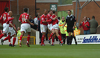Photo: Ian Hebden.<br />Nottingham Forest v Chesterfield. Coca Cola League 1. 02/09/2006.<br />Forest's Grant Holt (R) celebrates scoring a penalty with his team mates.