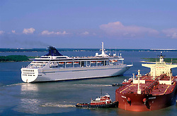 Cruise Ship and Tanker at Port of Houston
