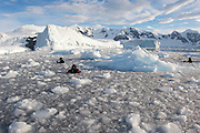 Film makers and, photographers and scientists at work in brash ice behind Danco Island, Antarctica, during the Elysium Expedition