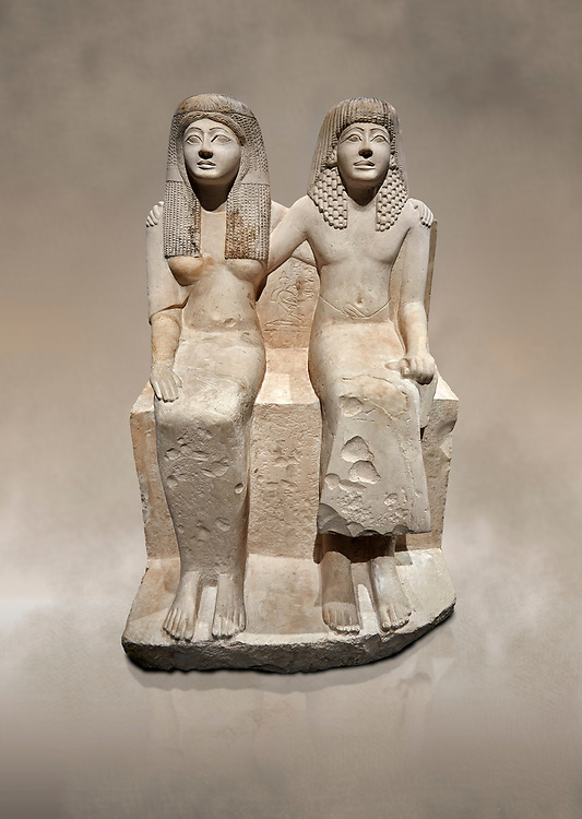 Ancient Roman statue of Pendua and his wife Nefertari, limestone, New Kingdom, 19th Dynasty, (1292-1186 BC),  Deir-el-Medina, Thebes. Egyptian Museum, Turin. .<br /> <br />  Carved in Thebian white limestone the statue of Pendua and his wife Nefertari shows the skill and attention to details of the sculptors of Deir-el-Medina, the worker's village of those who built the Royal Tombs at Thebes. The theme of the family is echoed by a carving of a daughter between the two figures. .<br /> <br /> If you prefer to buy from our ALAMY PHOTO LIBRARY  Collection visit : https://www.alamy.com/portfolio/paul-williams-funkystock/ancient-egyptian-art-artefacts.html  . Type -   Turin   - into the LOWER SEARCH WITHIN GALLERY box. Refine search by adding background colour, subject etc<br /> <br /> Visit our ANCIENT WORLD PHOTO COLLECTIONS for more photos to download or buy as wall art prints https://funkystock.photoshelter.com/gallery-collection/Ancient-World-Art-Antiquities-Historic-Sites-Pictures-Images-of/C00006u26yqSkDOM