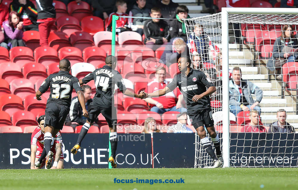Picture by Paul Gaythorpe/Focus Images Ltd +447771 871632.27/04/2013.Bradley Pritchard of Charlton Athletic celebrates scoring the opening goal against Middlesbrough during the npower Championship match at the Riverside Stadium, Middlesbrough.