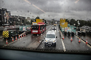 Heavy rain, Traffic and road works on Waterloo Bridge, London, as heavy rain batters the capital on Friday, Oct 2, 2020. Forecasters warn Southern coastal areas of England could see gusts of up to 65mph and others could be at risk of flooding before the end of the weekend, as the French storm arriving on Friday is expected to be followed by another band of cold and blowy conditions. (VXP Photo/ Sabrina Merolla)