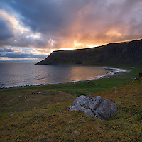 View of summer sunrise over Unstad beach, Vestvågøy, Lofoten Islands, Norway