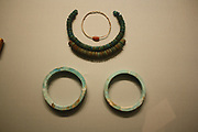 Faience Armlets and Necklaces, Dynasty 18, reign of Thutmose 111 (ca 1479-1425 BC) From the tomb of three minor wives of Tutmose 111 in the Wady Gabbanet el-Qurud, Thebes.