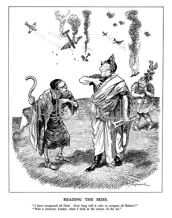 """Reading the Skies. """"I have conquered all Gaul. How long will it take to conquer all Britain?"""" """"Wait a moment, Leader, while I look at the omens of the air."""""""