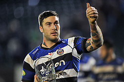 Man of the Match Matt Banahan of Bath Rugby gives a thumbs up to the crowd after the game - Photo mandatory by-line: Patrick Khachfe/JMP - Mobile: 07966 386802 12/12/2014 - SPORT - RUGBY UNION - Bath - The Recreation Ground - Bath Rugby v Montpellier - European Rugby Champions Cup