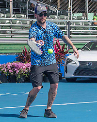 November 5, 2017 - Delray Beach, Florida, US - Musician JORDAN McGRAW of Hundred Handed in action on court at the Delray Beach Stadium and Tennis Center in Florida during the 2017 Chris Evert/ Raymond James Pro-Celebrity Tennis Classic. Chris Evert Charities has raised more than $23 million in an ongoing campaign for Florida's most at-risk children. (Credit Image: © Arnold Drapkin via ZUMA Wire)