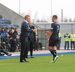 Falkirk's Phil Roberts sent off after Falkirk were awarded a penalty.<br /> Falkirk 1 v 1 Livingston, Scottish Championship game today at The Falkirk Stadium.<br /> © Michael Schofield.