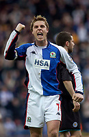 Photo. Glyn Thomas, Digitalsport.<br /> Blackburn Rovers v Leicester City. <br /> FA Barclaycard Premiership. 17/04/2004.<br /> Blackburn's captain Garry Flitcroft is delighted with his side's 1-0 win.