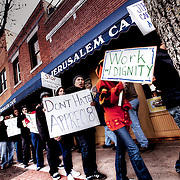 Allegations of labor law breaches at the Jerusalem Cafe in Westport, Kansas City, MO brought out a crowd to picket on Saturday, December 4, 2010.