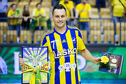 Luka Zvizej of Team Celje celebrates during trophy ceremony when RK Celje Pivovarna Lasko awarded as National Champions 2017 after handball match between RK Celje Pivovarna Lasko and RK Gorenje Velenje in Last Round of 1. Liga NLB 2016/17, on June 2, 2017 in Arena Zlatorog, Celje, Slovenia. Photo by Vid Ponikvar / Sportida