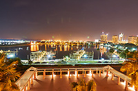 Night view of the Vinoy basin and the St. Petersburg skylinefrom Vinoy Hotel in St. Petersburg, Florida. Image taken with a Nikon D300 camera and 14-28 mm f/2.8 len (ISO 200, 14 mm, f/7, 29 sec).