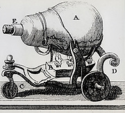 Steam jet engine demonstrating Newtyon's third law of motion - action and reaction. Engraving, 1777.