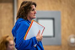 Coach Vera Koenen of Sliedrecht Sport in action during the first league match in the corona lockdown between Talentteam Papendal vs. Sliedrecht Sport on January 09, 2021 in Ede.