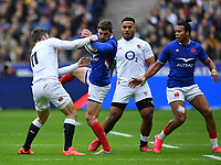 Rugby Union - 2020 Guinness Six Nations Championship - France vs. England<br /> <br /> Frances's Anthony Bouthier battles for possession with England's Elliot Daly, at The Stade de France, Paris.<br /> <br /> COLORSPORT/ASHLEY WESTERN