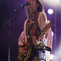 Vocalist Cato van Dijck plays a guitar with her Dutch-New Zealand band My Baby at their concert on the A38 Stage at Sziget Festival held in Budapest, Hungary on Aug. 13, 2018. ATTILA VOLGYI