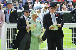 Left to right, JOHN WARREN, HM The QUEEN and the DUKE OF DEVONSHIRE at day 1 of the 2011 Royal Ascot Racing festival at Ascot Racecourse, Ascot, Berkshire on 14th June 2011.