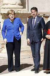 Italy, Assisi  - March 29, 2019.St Francis Basilic. The lamp of the Peace 2019 is given to the King of Jordan..Angela Merkel and Giuseppe Conte (Credit Image: © Zucchi/Insidefoto/Ropi via ZUMA Press)