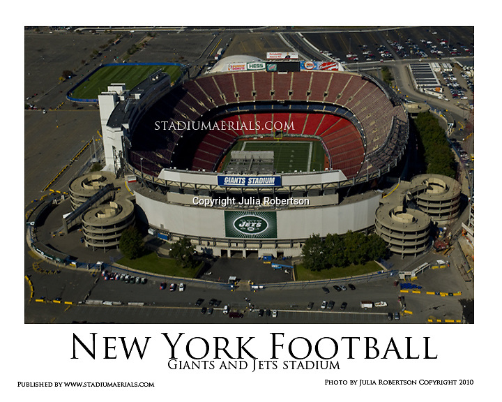 Aerial view Of the original Giants Stadium and New York Jets